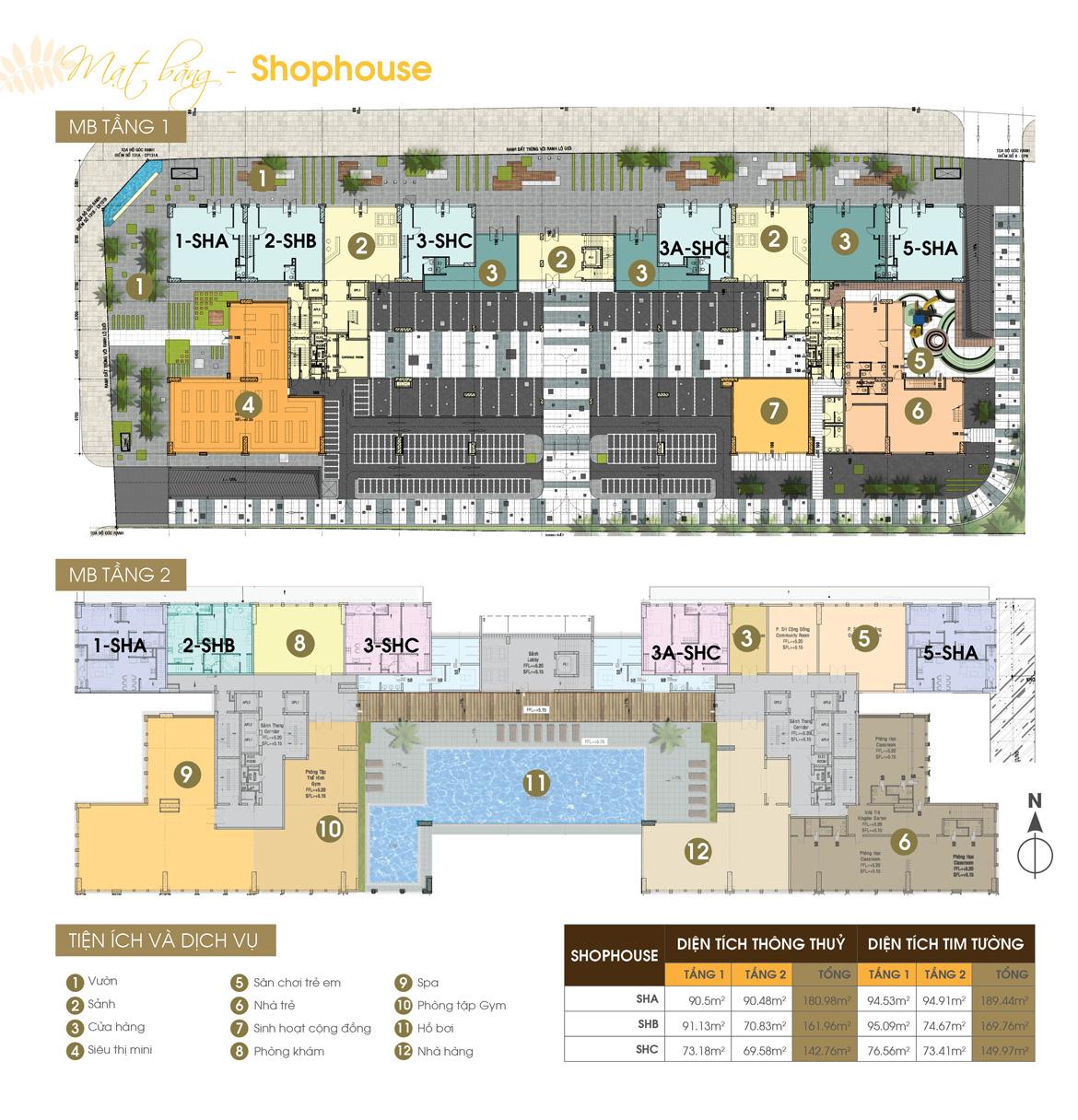 Mặt  bằng tầng Shophouse tầng 01 và 02 dự án căn hộ Jamona Heights Quận 7