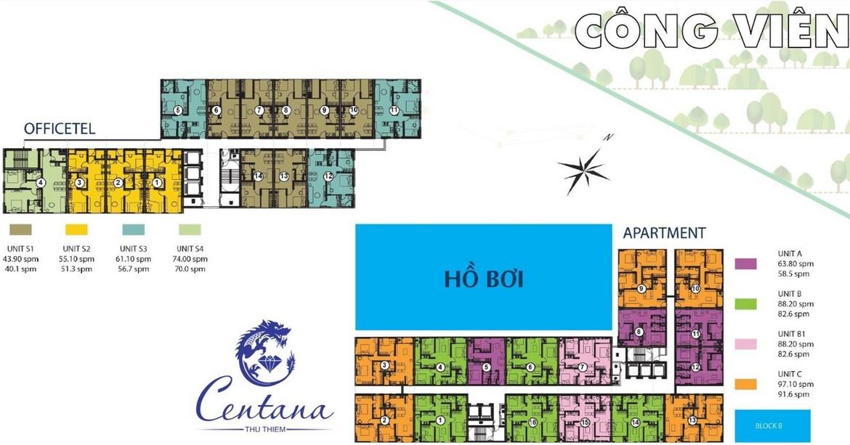 Mặt bằng dự án căn hộ chung cư Centana Thủ Thiêm Quận 2 Đường Mai Chí Thọ chủ đầu tư Điền Phúc Thành
