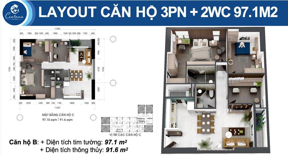 Thiết kế dự án căn hộ chung cư Centana Thủ Thiêm Quận 2 Đường Mai Chí Thọ chủ đầu tư Điền Phúc Thành