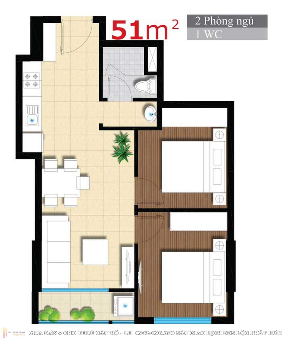 Mặt bằng căn hộ thiết kế căn hộ An Gia Star Quận Bình Tân diện tích 50m2