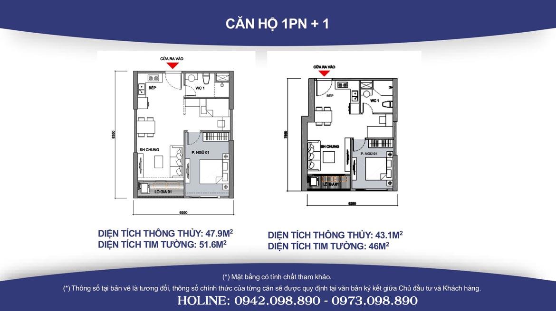 Thiết kế căn hộ 1PN +1 Vinhomes Grand Park diện tích từ 46m2 đến 51m2 - Liên hệ SGD BĐS Lộc Phát Hưng 0942.098.890 Xem nhà mẫu + Xem thực tế + Chính sách bán hàng Vinhomes Grand Park