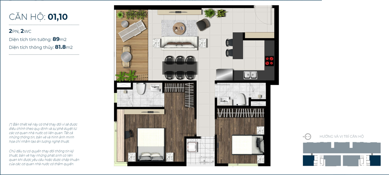 Thiết kế chi tiết căn hộ số 01, 10 Sky 89 Quận 7 - Diện tích xây dựng 89m2 - Diện tích thông thủy: 81.8m2 - Liên hệ nhận báo giá căn hộ này 0942.098.890