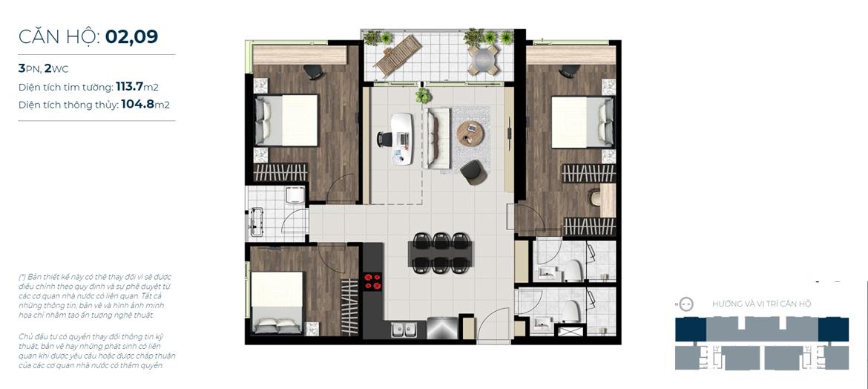 Thiết kế chi tiết căn hộ số 02, 09 Sky 89 Quận 7 - Diện tích xây dựng 113,7m2 - Diện tích thông thủy: 104,8m2 - Liên hệ nhận báo giá căn hộ này 0942.098.890