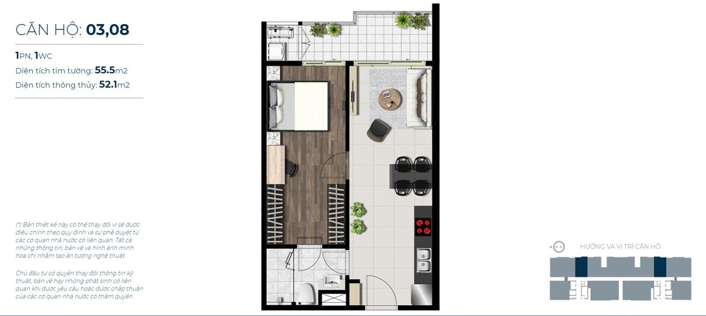 Thiết kế chi tiết căn hộ số 03, 08 Sky 89 Quận 7 - Diện tích xây dựng 55,1m2 - Diện tích thông thủy: 52,1m2 - Liên hệ nhận báo giá căn hộ này 0942.098.890