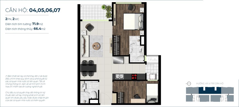 Thiết kế chi tiết căn hộ số 04,05,06,07  Jamona City Quận 7 - Diện tích xây dựng 71,9m2 - Diện tích thông thủy: 66,4m2 - Liên hệ nhận báo giá căn hộ này 0942.098.890