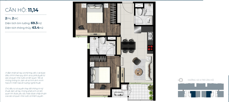 Thiết kế chi tiết căn hộ số 11,14  Jamona City Quận 7 - Diện tích xây dựng 69,3m2 - Diện tích thông thủy: 63,4m2 - Liên hệ nhận báo giá căn hộ này 0942.098.890