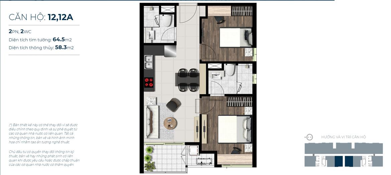 Thiết kế chi tiết căn hộ số 12,12A  Jamona City Quận 7 - Diện tích xây dựng 64,5m2 - Diện tích thông thủy: 58,3m2 - Liên hệ nhận báo giá căn hộ này 0942.098.890