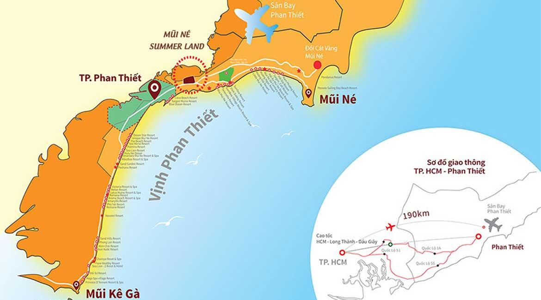 Vị trí địa chỉ dự án căn hộ condotel Mui Ne Summer Land Đường Võ Nguyên Giáp chủ đầu tư Hưng Lộc Phát