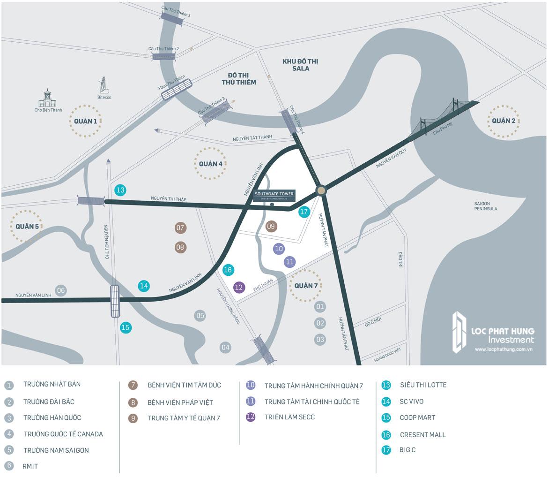 Địa chỉ vị trí dự án căn hộ South Gate Tower Quận 7