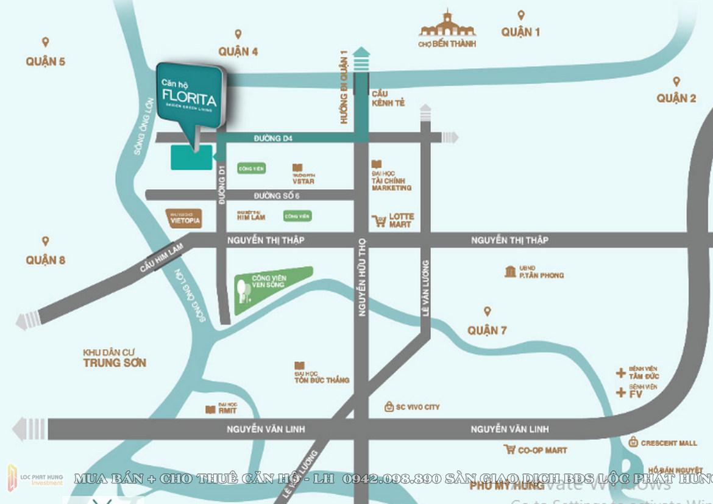 Vị trí Toạn lạc dự án  căn hộ chung cư Florita Quận 7