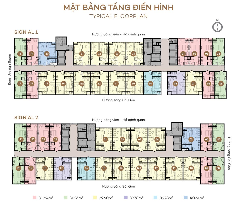 Mặt bằng tầng điển hình dự án căn hộ Smartel Signial quận 7