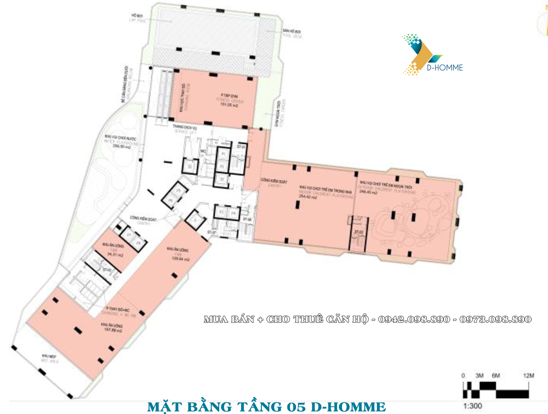 Mặt bằng thiết kế căn hộ D-Homme đường Hồng Bàng Quận 6 - Tầng 05