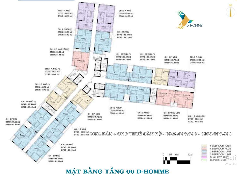Mặt bằng thiết kế căn hộ D-Homme đường Hồng Bàng Quận 6 - Tầng 06