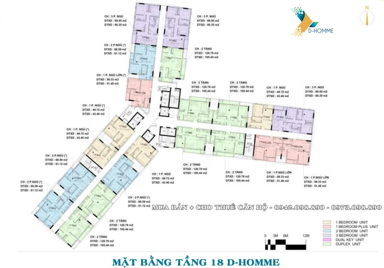 Mặt bằng thiết kế căn hộ D-Homme đường Hồng Bàng Quận 6 - Tầng 18