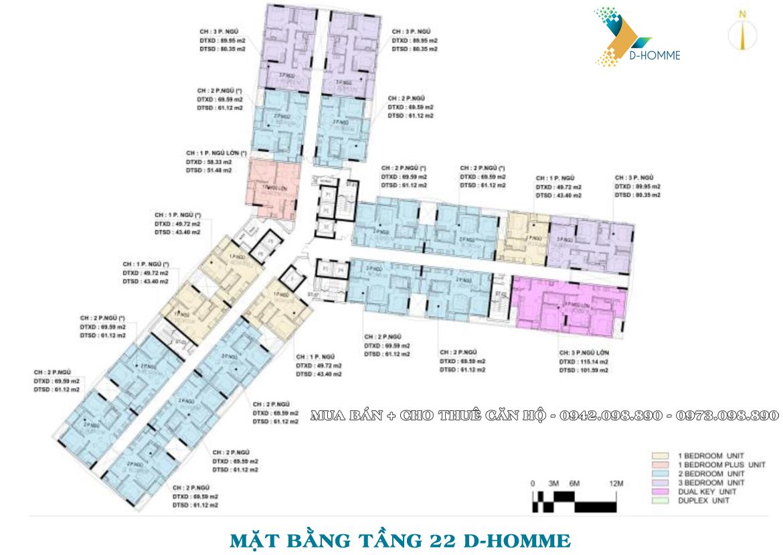 Mặt bằng thiết kế căn hộ D-Homme đường Hồng Bàng Quận 6 - Tầng 22