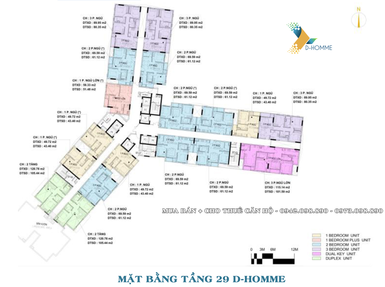 Mặt bằng thiết kế căn hộ D-Homme đường Hồng Bàng Quận 6 - Tầng 29