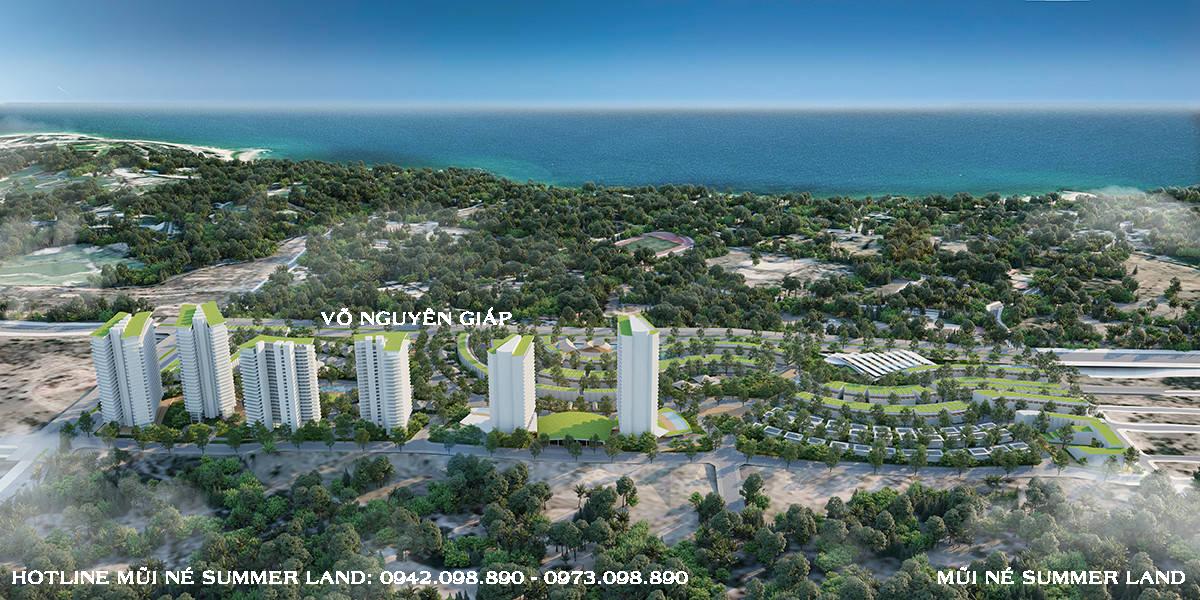 Phối cảnh tổng thể dự án Mũi Né Summer Land Phan Thiết hướng nhìn ra biển
