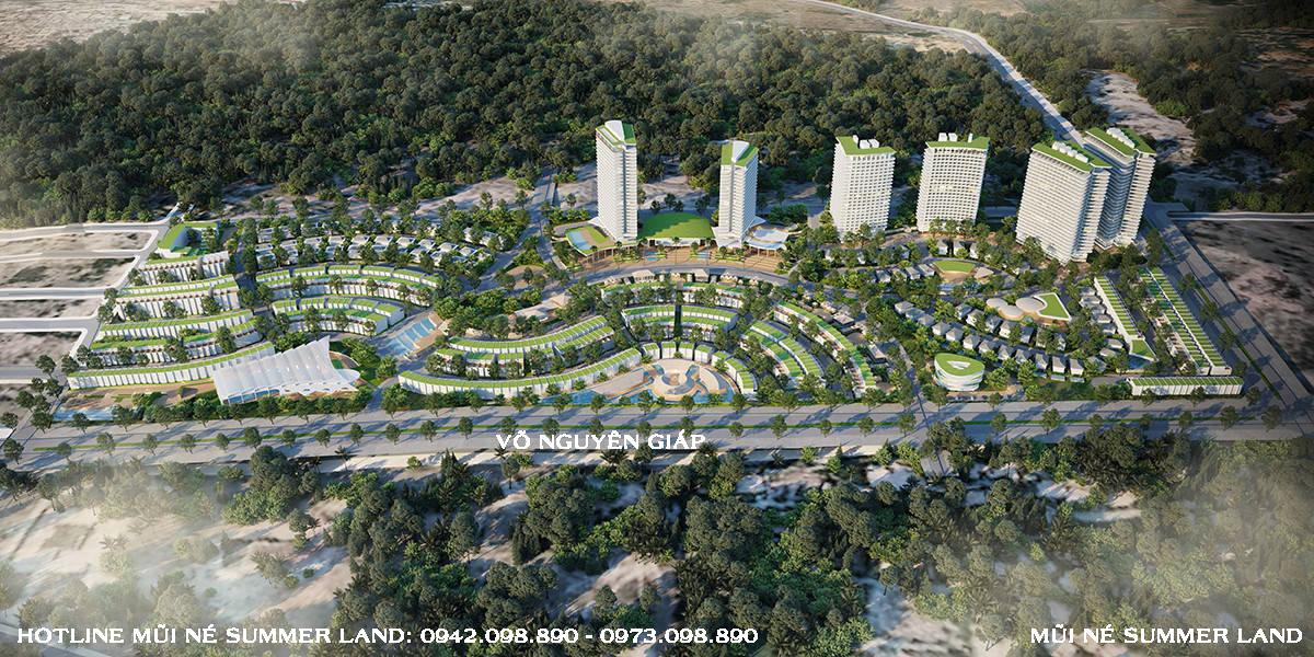 Phối cảnh tổng thể dự án Mũi Né Summer Land Phan Thiết hướng từ biển nhìn vào dự án