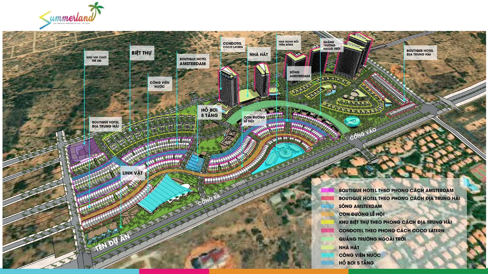 Phối cảnh tổng thể dự án căn hộ, nhà phố, biệt thự, condotel Mũi Né Summer Land Phan Thiết.