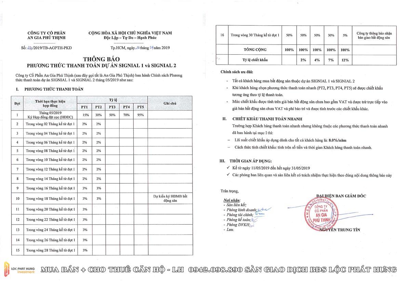 Phương thức thanh toán dự án căn hộ chung cư Signial Quận 7 Đường Hoàng Quốc Việt chủ đầu tư An Gia
