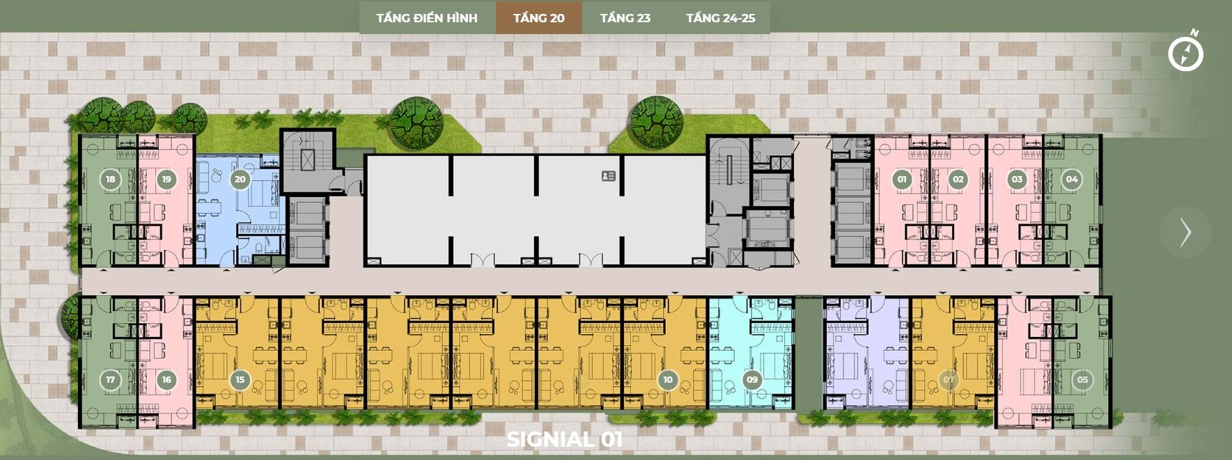 Mặt bằng thiết kế S1 tầng 20 dự án Smartel Signial quận 7.