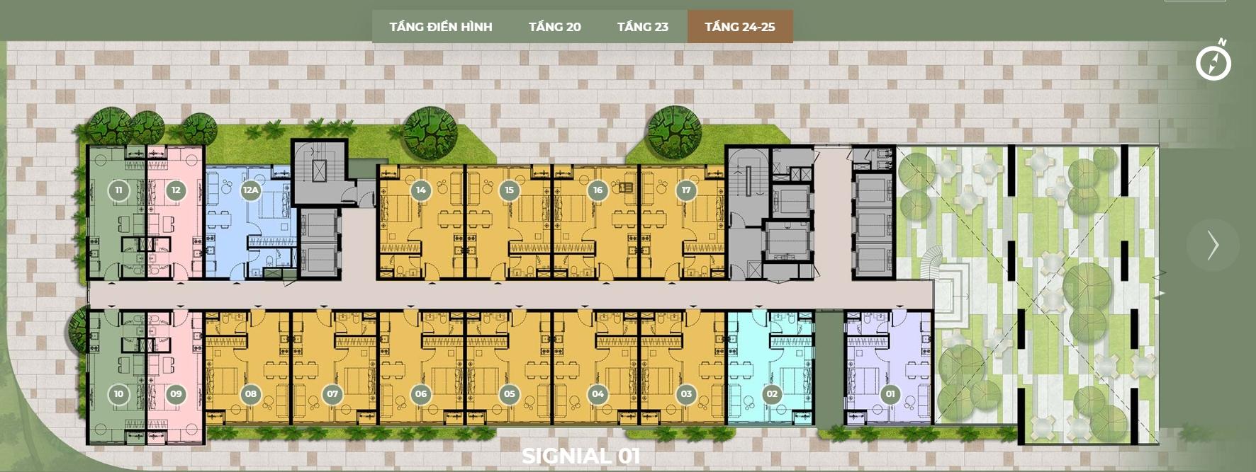 Mặt bằng thiết kế S1 tầng 24,25 dự án Smartel Signial quận 7.