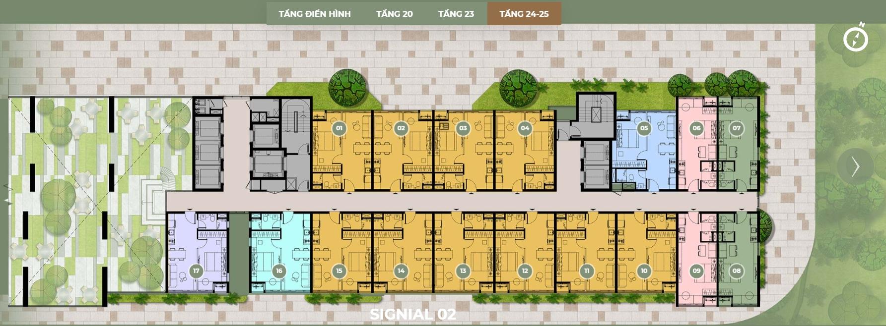 Mặt bằng thiết kế S2 tầng 24,25 dự án Smartel Signial quận 7.