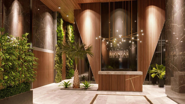 Sảnh đón tầng trệt dự án căn hộ smartel Signial quận 7 đường Hoàng Quốc Việt