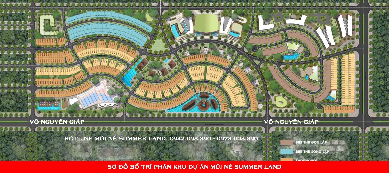 Sơ đồ phân lô bố trí dự án biệt thự nhà phố Mũi Né Summer Land Phan Thiết