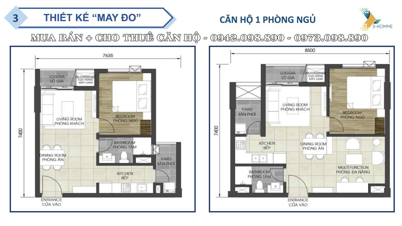 Thiết kế chi tiết căn hộ  1 phòng ngủ dự án D-Homme Quận 6 đường Hồng Bàng