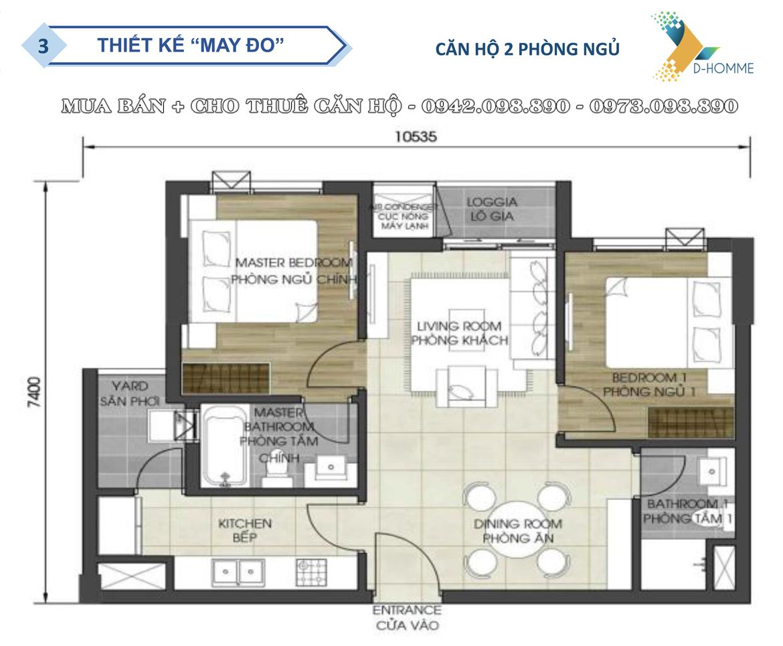 Thiết kế chi tiết căn hộ  2 phòng ngủ dự án D-Homme Quận 6 đường Hồng Bàng