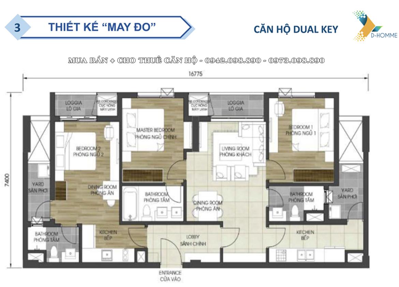 Thiết kế chi tiết căn hộ  DualKey dự án D-Homme Quận 6 đường Hồng Bàng