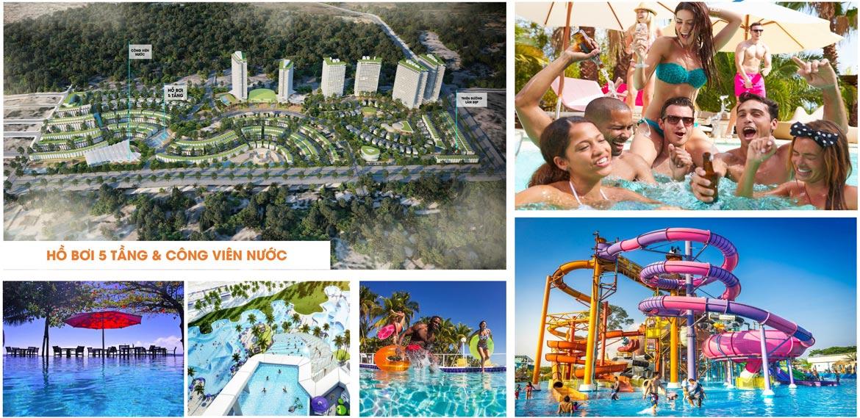 Tiện ích công viên bể bơi ngoài trời 5 tầng dự án căn hộ biệt thự condotel Mũi Né Summer Land Phan Thiết