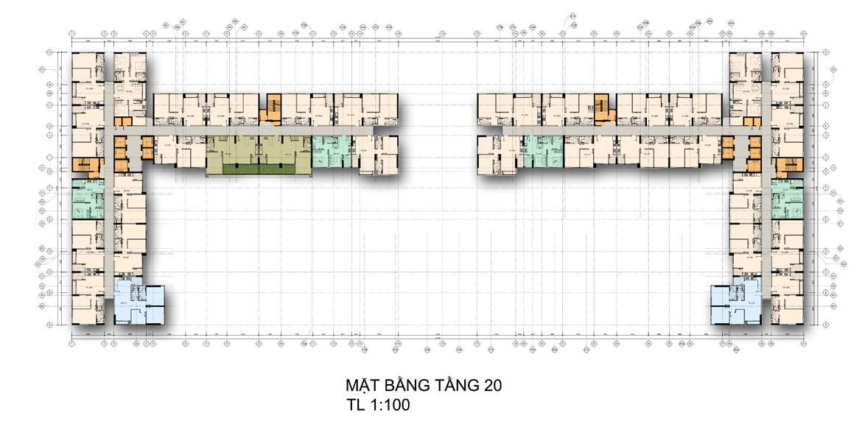 Mặt bằng tầng 20 căn hộ chung cư La Premier Quận 2 đường Võ Chí Công