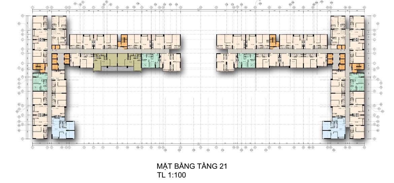 Mặt bằng tầng 21 căn hộ chung cư La Premier Quận 2 đường Võ Chí Công