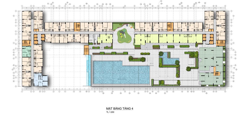 Mặt bằng tầng 4 căn hộ chung cư La Premier Quận 2 đường Võ Chí Công