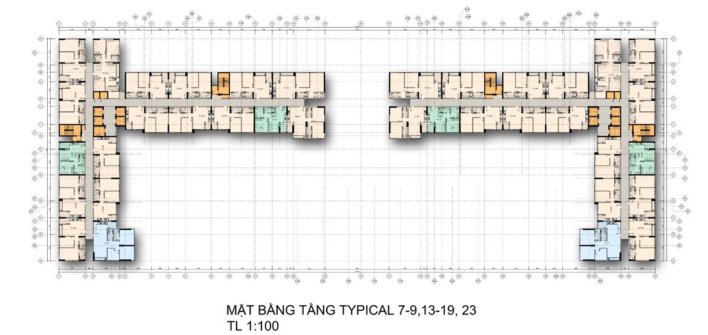 Mặt bằng tầng 7-9 , 13-19, 23 căn hộ chung cư La Premier Quận 2 đường Võ Chí Công