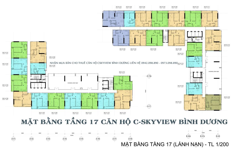 Mặt bằng tầng 17 dự án căn hộ chung cư C Skyview Bình Dương Đường Trần Phú chủ đầu tư Quốc Cường Chánh Nghĩa