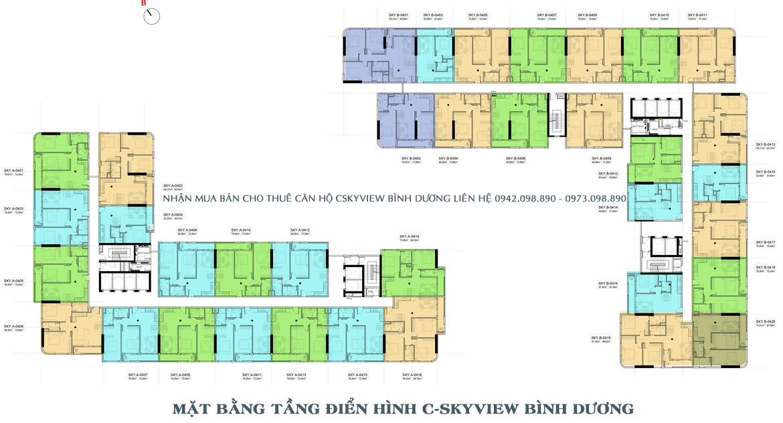 Mặt bằng điển hình dự án căn hộ chung cư C Skyview Bình Dương Đường Trần Phú chủ đầu tư Quốc Cường Chánh Nghĩa