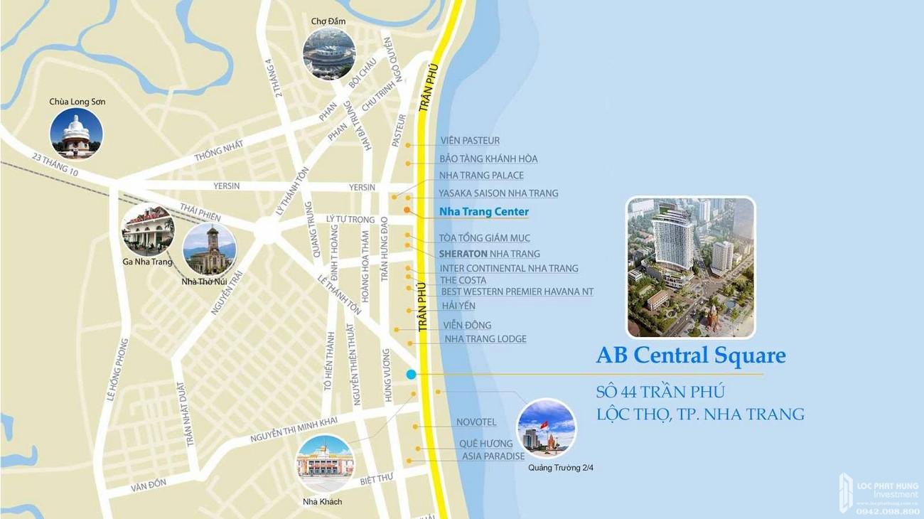 Vị trí địa chỉ dự án Condotel chung cư AB Central Square Đường Trần Phú chủ đầu tư A&B Development Corp.