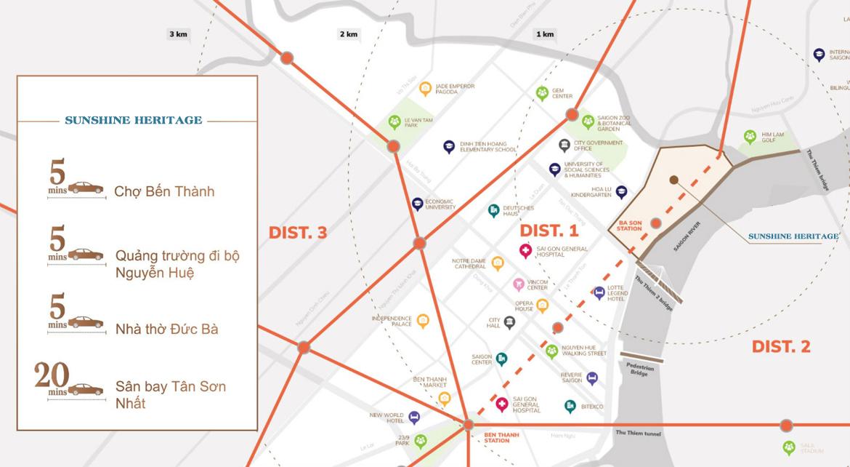 Vị trí địa chỉ dự án căn hộ chung cư Sunshine Heritage Quận 1 Đường Nguyễn Hữu Cảnh chủ đầu tư Sunshine Group