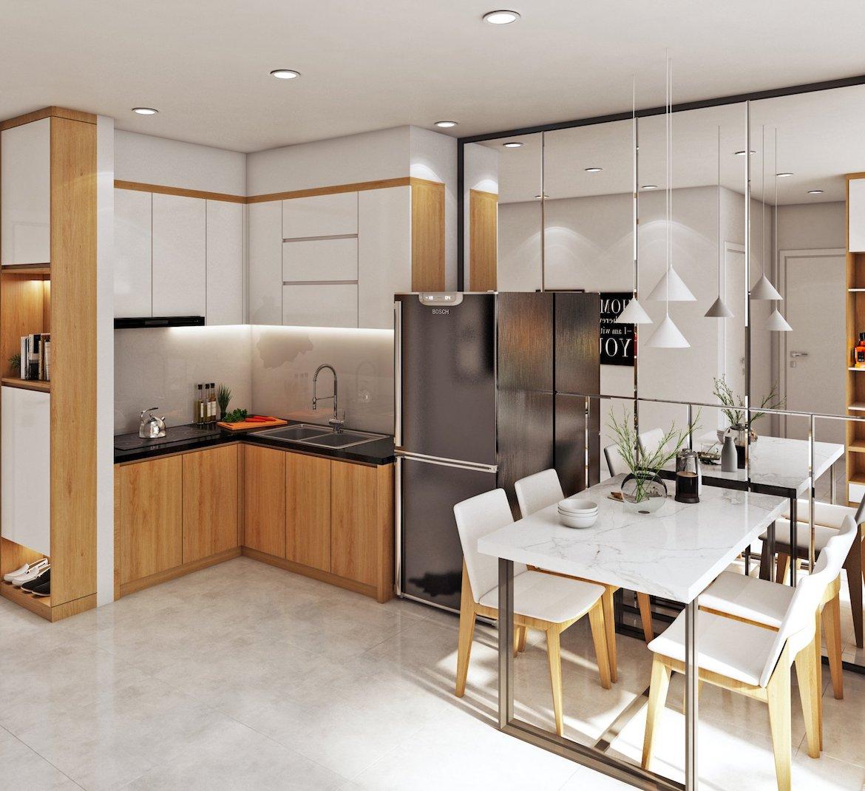 Thiết kế phòng bếp nhà mẫu Bcons Garden, chủ đầu tư Bcons. Liên hệ xem nhà mẫu: 0938.322.111