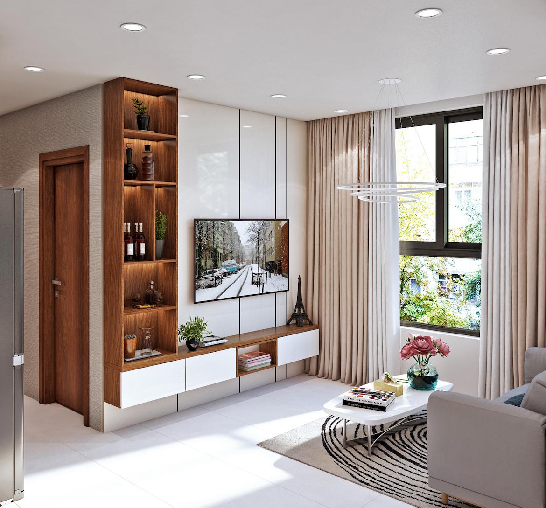 Thiết kế phòng khách nhà mẫu Bcons Garden, chủ đầu tư Bcons. Liên hệ xem nhà mẫu: 0938.322.111