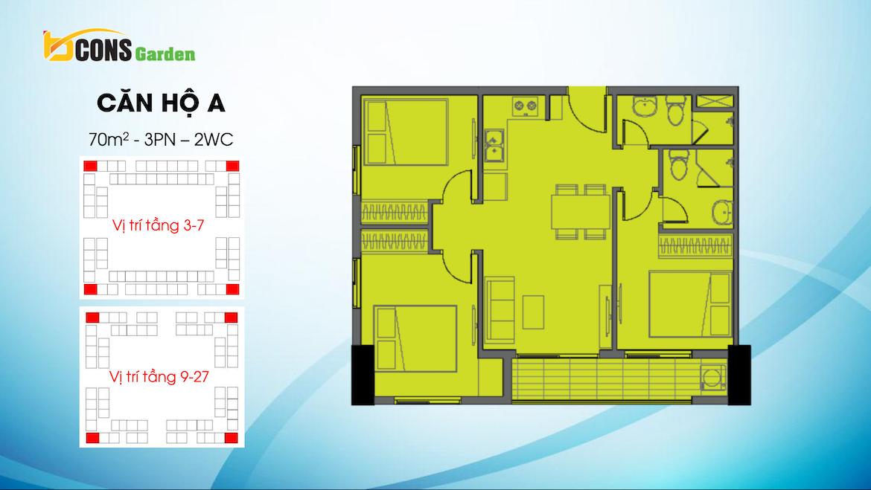 Thiết kế dự án căn hộ chung cư Bcons Garden Dĩ An Bình Dương chủ đầu tư Bcons căn hộ loại A 70 m2