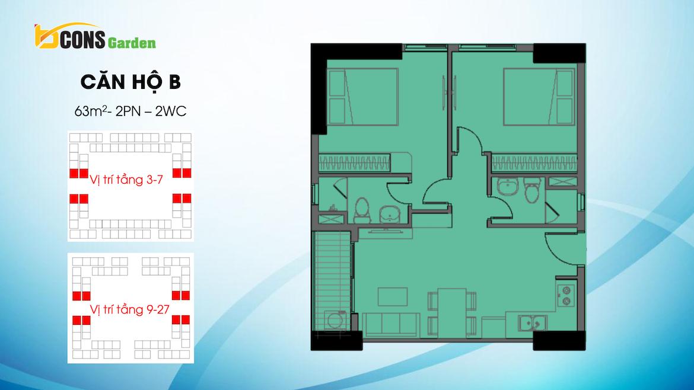 Thiết kế dự án căn hộ chung cư Bcons Garden Dĩ An Bình Dương chủ đầu tư Bcons căn hộ loại B 63 m2