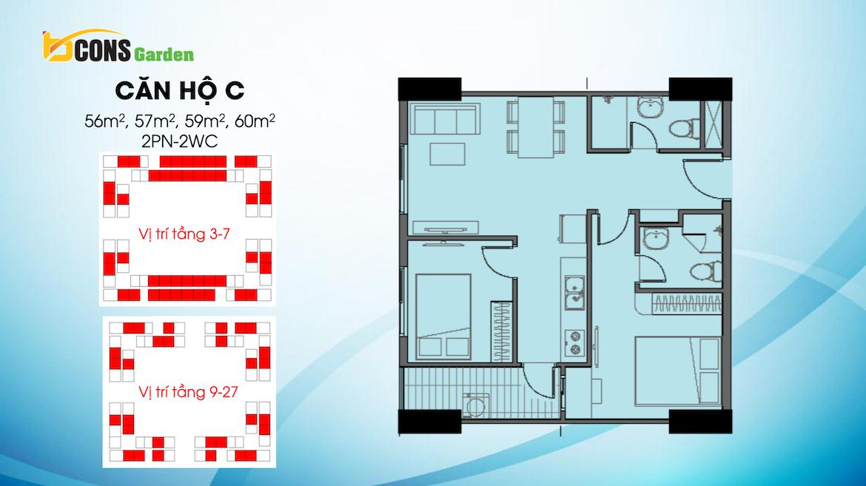 Thiết kế dự án căn hộ chung cư Bcons Garden Dĩ An Bình Dương chủ đầu tư Bcons căn hộ loại C 56,57,59,60m2 m2