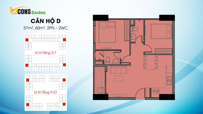 Thiết kế dự án căn hộ chung cư Bcons Garden Dĩ An Bình Dương chủ đầu tư Bcons căn hộ loại D 57,60m2 m2
