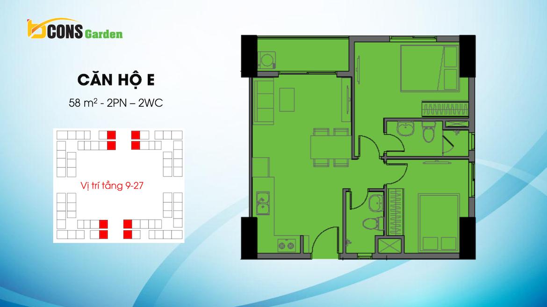 Thiết kế dự án căn hộ chung cư Bcons Garden Dĩ An Bình Dương chủ đầu tư Bcons căn hộ loại E 58 m2 m2