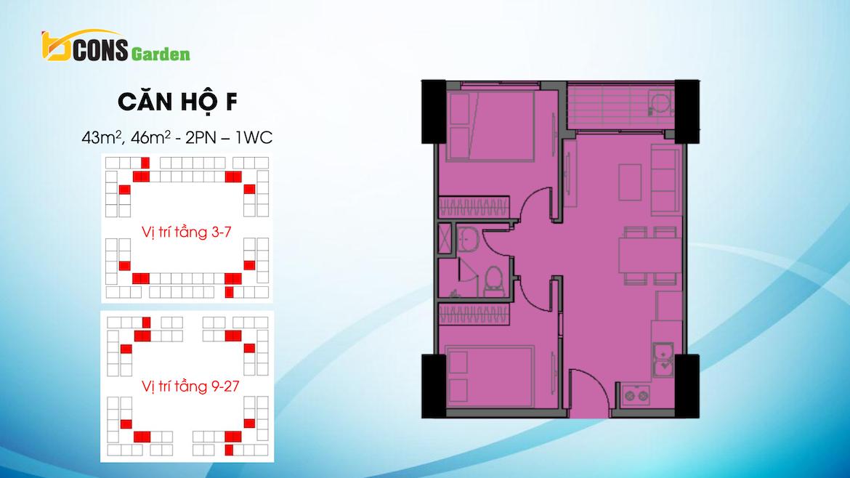 Thiết kế dự án căn hộ chung cư Bcons Garden Dĩ An Bình Dương chủ đầu tư Bcons căn hộ loại F 43,46 m2
