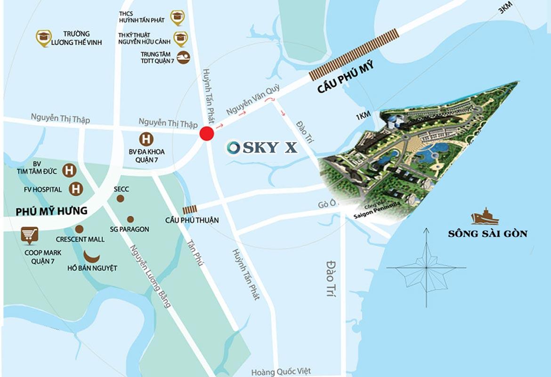 Vị trí địa chỉ dự án căn hộ chung cư Sky X Quận 7 Đường Đào Trí chủ đầu tư TTC LAND